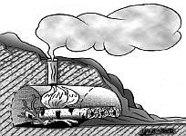 Костер для приготовления пищи в земляном склоне или насыпи