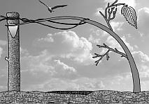 Ловушка для летающих птиц из стойки и гибкой ветки