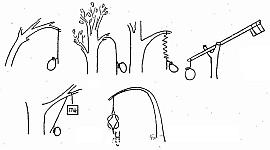 Действующие элементы простых ловушек, вздергивающие петли, падающие и раскачивающиеся грузы, хлестающие гибкие ветки