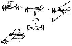 Для установки торсионного механизма сперва обносят несколько раз веревками два близко стоящих ствола дерева