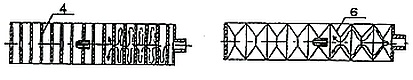 Схема глушителя, в корпусе которого установлены перегородки с центральной перфорацией