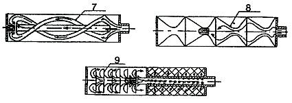 В корпусе следующего глушителя установлена центральная трубка и винтообразные каналы