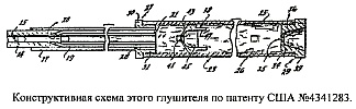 Конструктивная схема глушителя звука выстрела по патенту США 4341283 от 1982 года