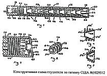 Конструкция, особенности и принцип работы глушителей звука выстрела по патенту США 5029512 от 1991 года