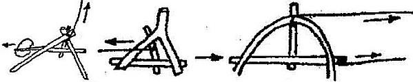 Спусковой механизм ловушки из двух колышков вбитых в землю
