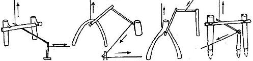 Спусковой механизм ловушки из двух колышков и верхней перекладины