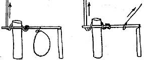 Спусковой механизм ловушки в котором один конец планки-коромысла лежит на колышке-подпорке