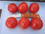 Стараясь задеть только шкурку, надрезаем помидоры крестообразно сверху