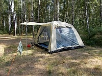 Тент-палатка Cook Room от компании Кемпинг гармонично сочетается в себе все достоинства открытого шатра, закрытого павильона и удобства большой кемпинговой палатки