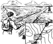 Определение точки своего местонахождения на местности засечкой по ориентирам
